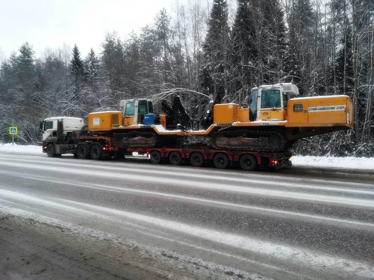 Перевозка двух сварочных тракторов Liebherr SR714 из г.Вологда в Республику Коми
