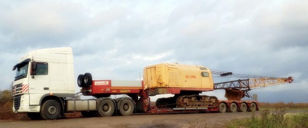 Перевозка гусеничного крана ЭО-5116 весом 47 тонн в г. Череповец ООО «ФосАгро-СевероЗапад»