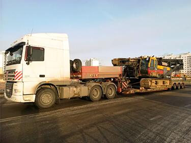 Перевозка сваедавильной установки PVE на строительную площадку в г.Ярославль. Объект коммерческое строительство