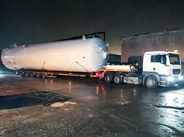 Перевозка емкости 19040х4440х4405 весом 55 тонн для ПАО Славнефть-ЯНОС